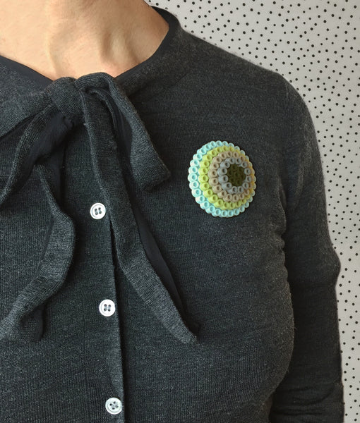 Olive Circles Statement Brooch - in shades of olive, aqua and grey.