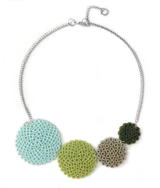 Olive circles necklace - in shades of olive, aqua and grey.