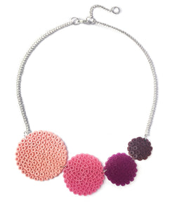 Rose circles necklace - in muted shades of rose, dusky pink and plum.