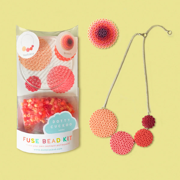 Coral Circle Fuse Bead Kit - Necklace and Brooch