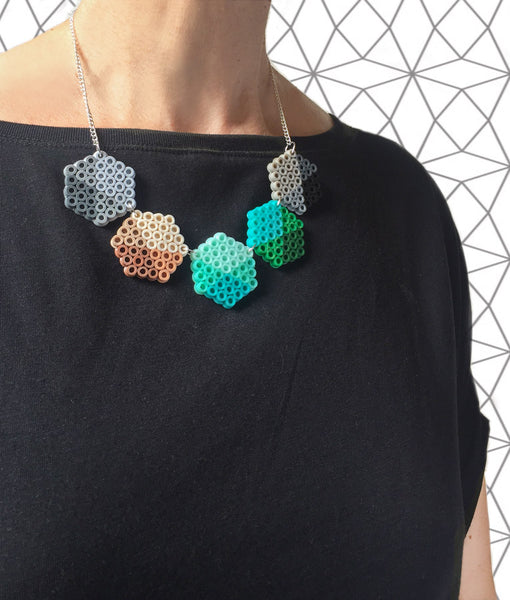 Geometric Beads Necklace - in mint, teal and grey.
