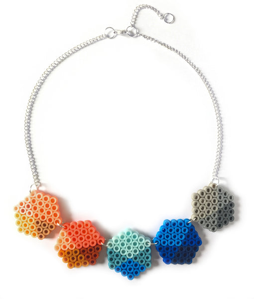 Geometric Beads Necklace - in blue, coral and grey.