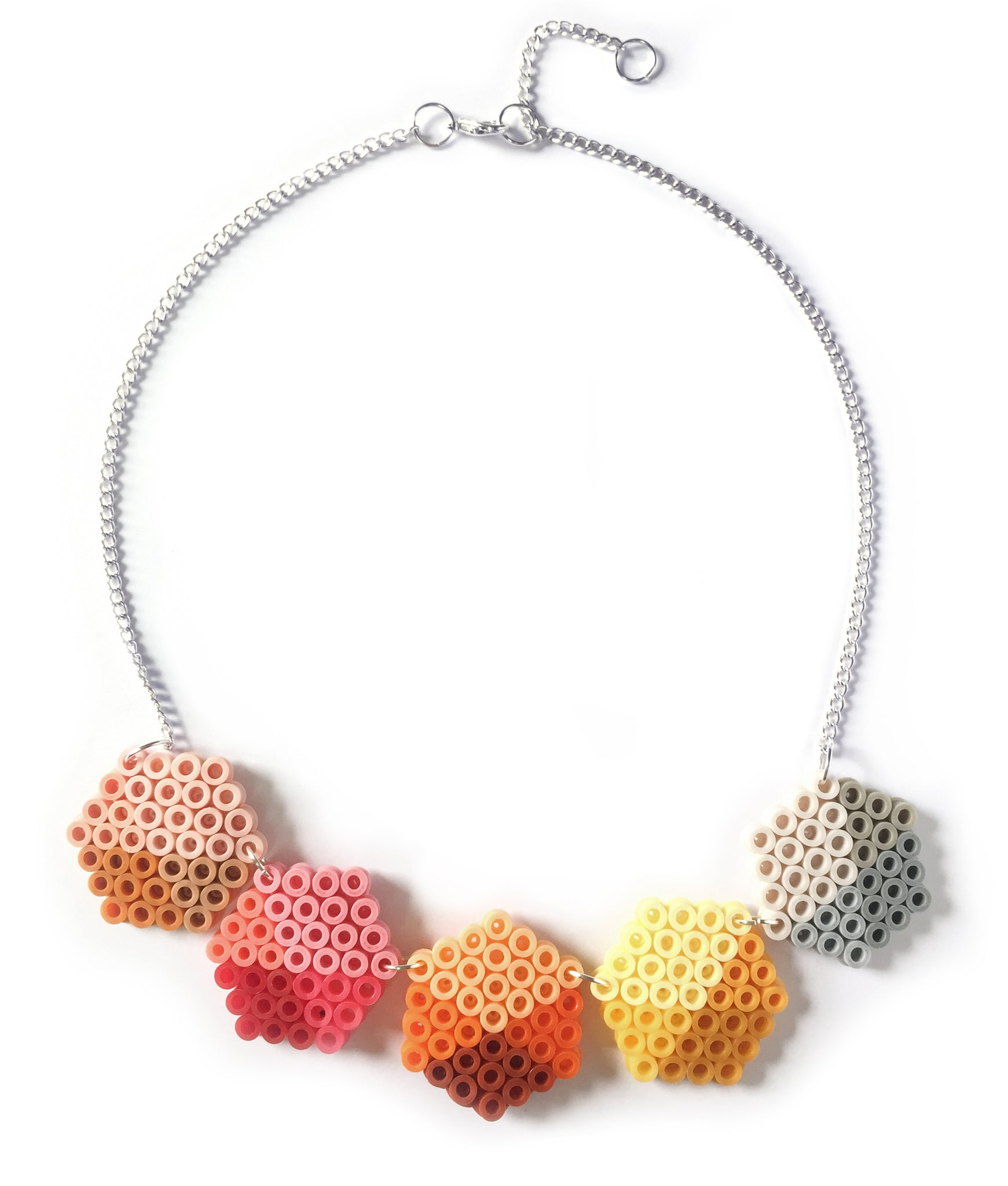 Geometric Beads Necklace - in apricot, lemon and pink.