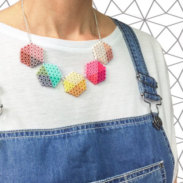 Geometric Beads Necklace - in pink, lemon and mint.