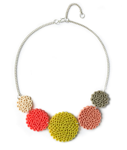 Mixed Circles Necklace - in coral, lime and grey.