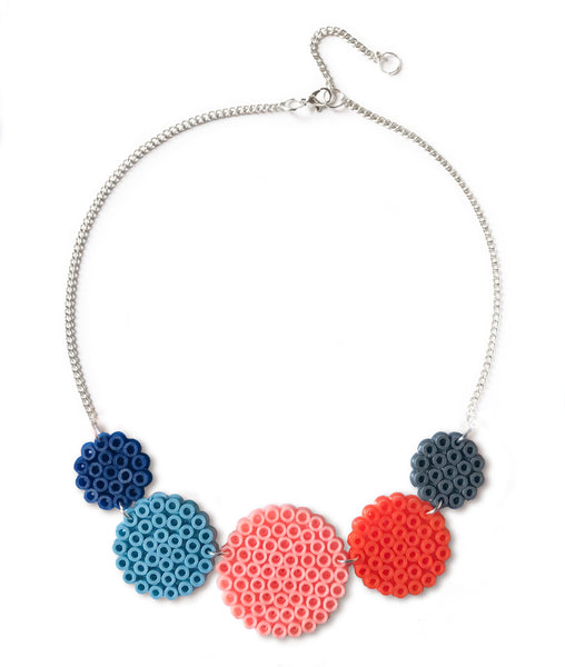 Mixed Circles Necklace - in peach, orange and blue.