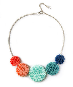 Mixed Circles Necklace - in aqua, coral and blue.