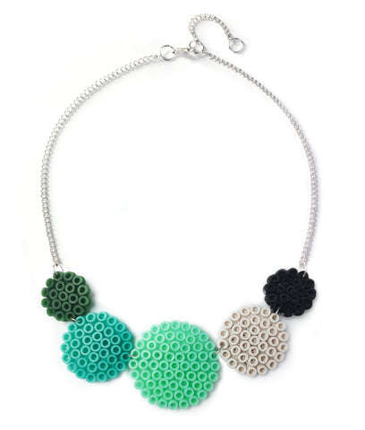 Mixed Circles Necklace - in mint, aqua and teal.