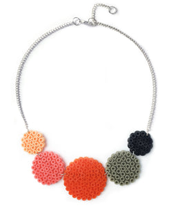 Mixed Circles Necklace - in orange, pink and grey.