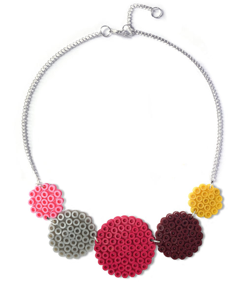 Mixed Circles Necklace - in plum, ochre and pink.
