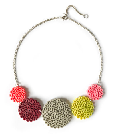 Mixed Circles Necklace - in plum, lime and pink.
