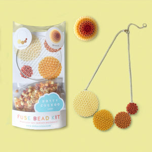 Ochre Circle Fuse Bead Kit - Necklace and Brooch