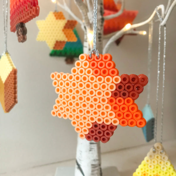 Three Star Hanging Decorations - Apricot, Lemon and Blue