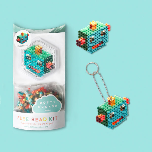 Robot Head Fuse Bead Kit - keyring and magnet