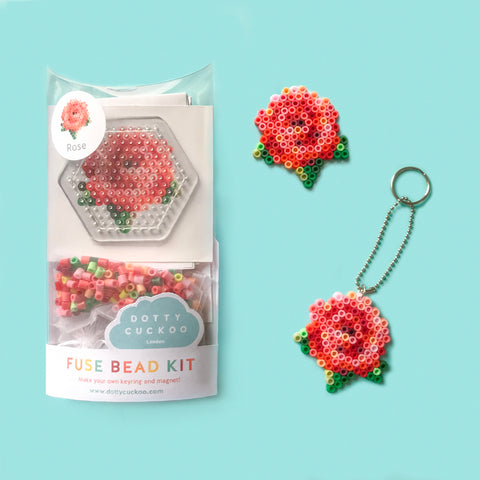 Rose Fuse Bead Kit - keyring and magnet