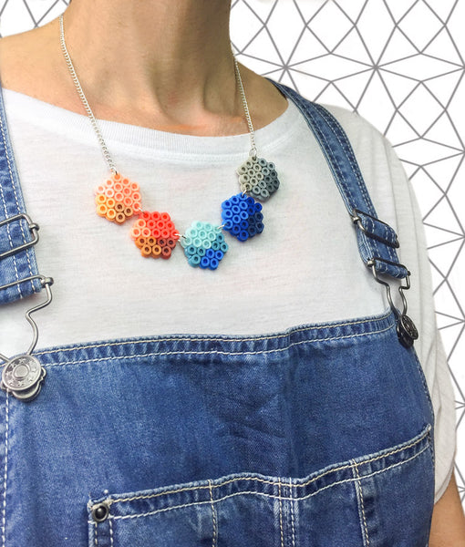 Small Geometric Beads Necklace - in blue, coral and grey.