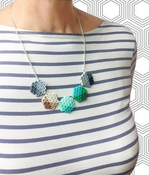 Small Geometric Beads Necklace - in mint, teal and grey.