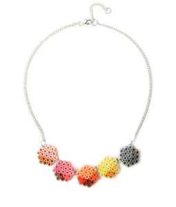 Small Geometric Beads Necklace - in apricot, lemon and pink.