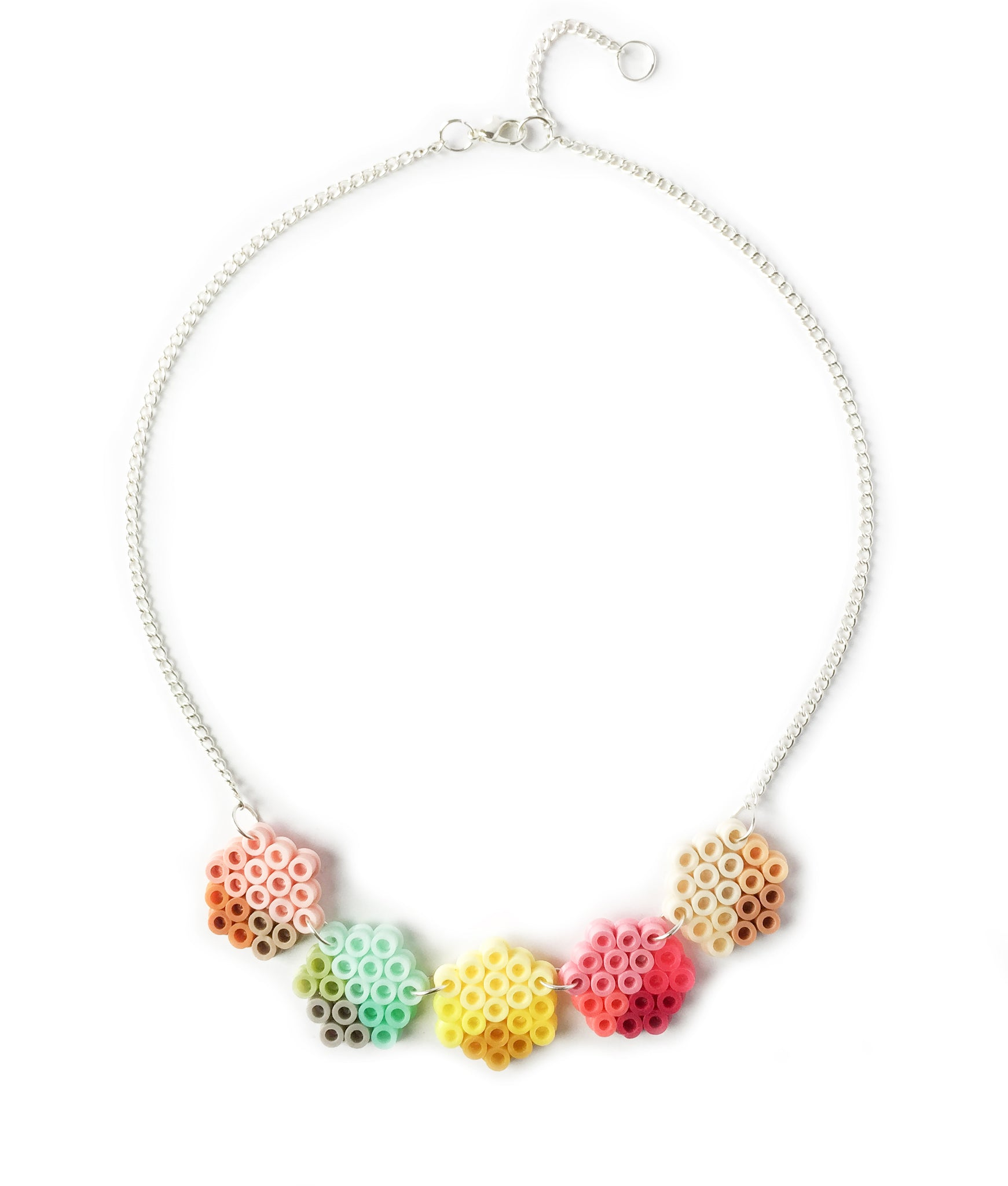 Small Geometric Beads Necklace - in pink, lemon and mint.