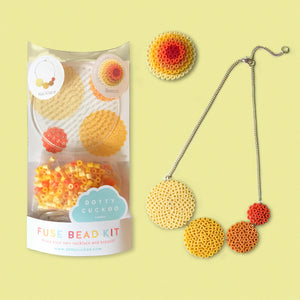 Yellow Circle Fuse Bead Kit - Necklace and Brooch