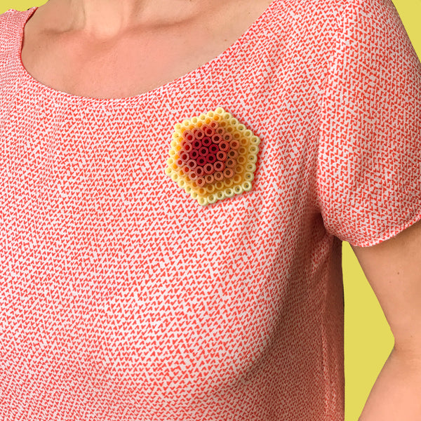 Muted Ochre Hexagon Statement Brooch - in shades of lemon, ochre and brown.