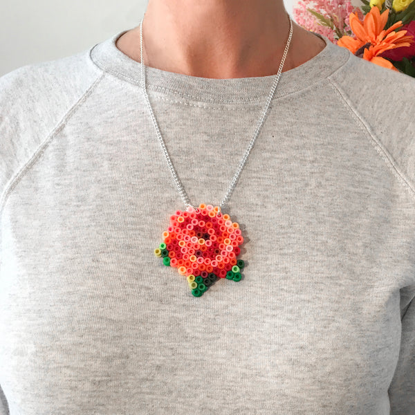 Rose Fuse Bead Kit - necklace and pin