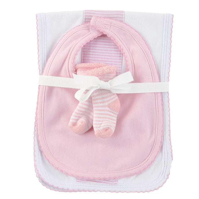 Burp Cloth, Bib and Sock Set (Pink)