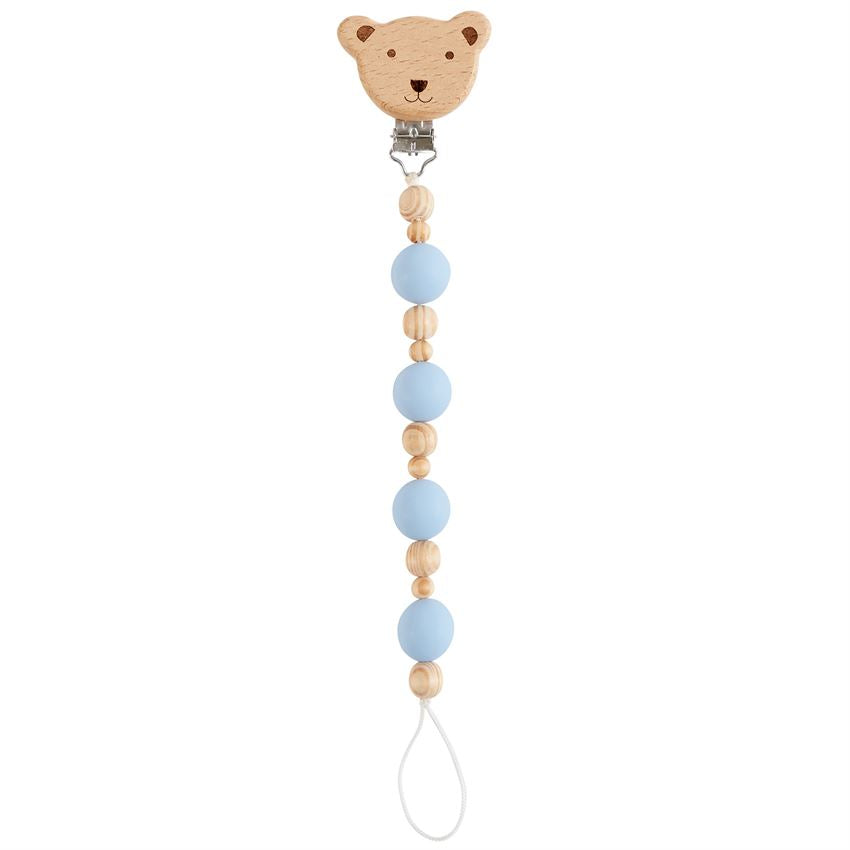Bear Wood & Silicone Pacifier Clip