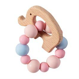 Pink Elephant Silicone & Wooden Teether