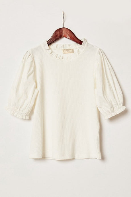 White Pleated Sleeve Top