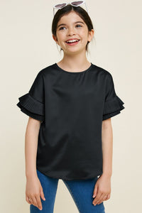 Black Pleated Tier Sleeve Top