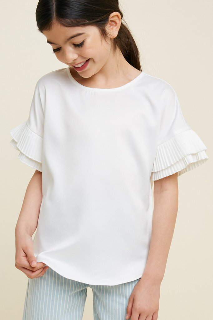 Off White Pleated Tier Sleeve Blouse