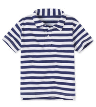 Load image into Gallery viewer, Toddler Boys Blue and White Stripe Polo