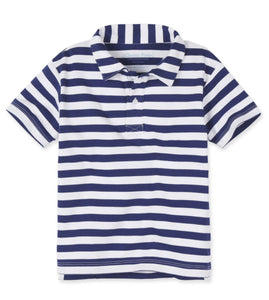 Toddler Boys Blue and White Stripe Polo