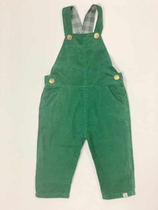 Infant Boy Green Cord Overalls