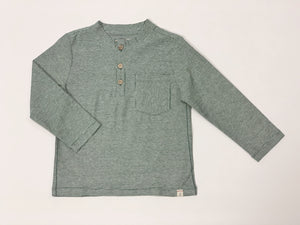Toddler Green Stripe Long Sleeve Henley