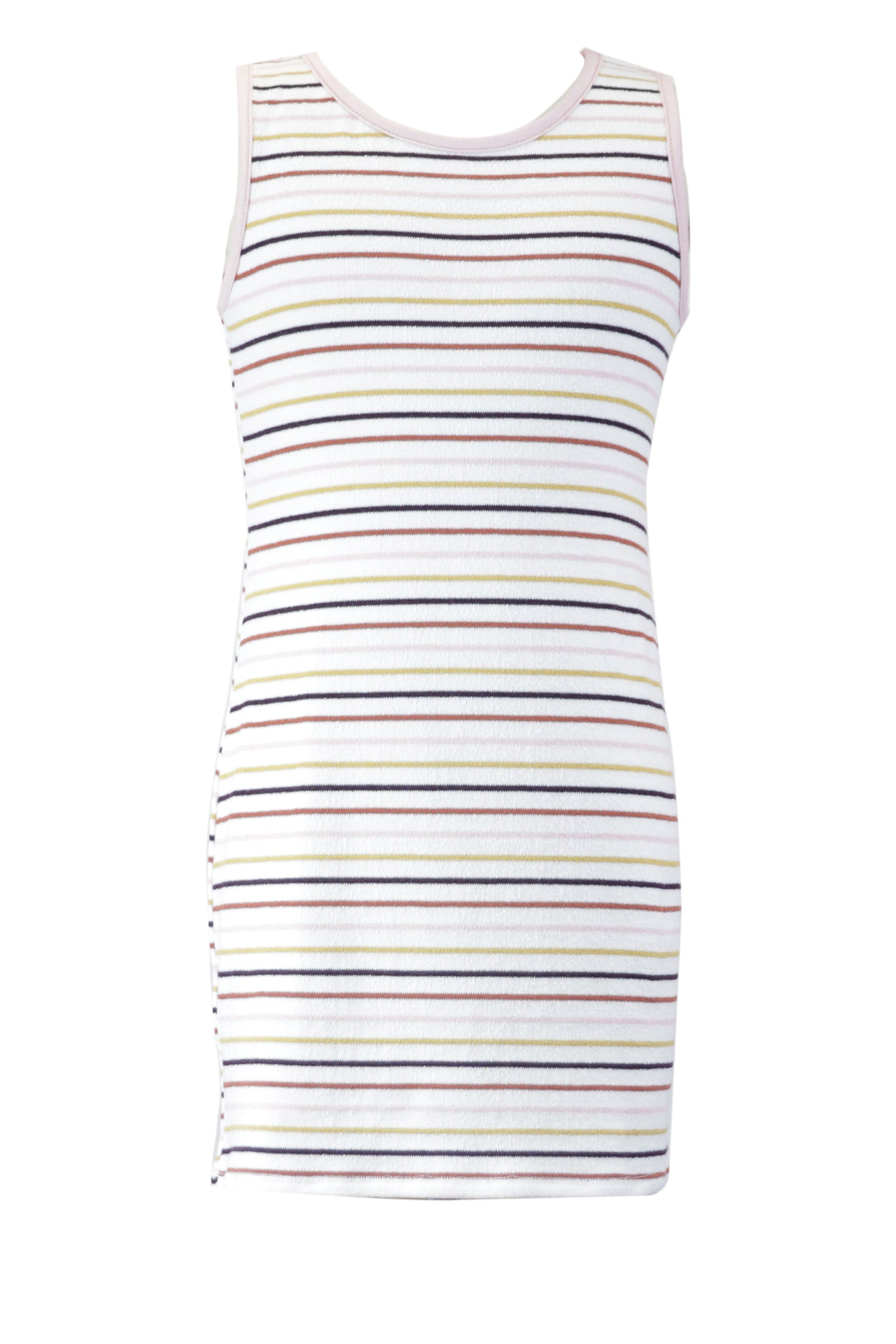 Ivory Striped Terry Loop Dress