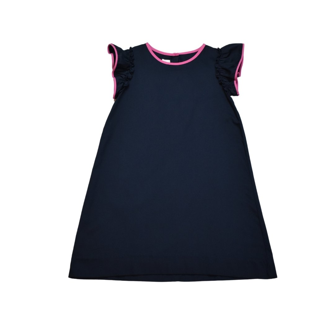 Lisa Dress Navy w/ Pink Trim