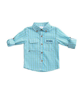 Boys Lagoon Aqua Window Pane Fishing Shirt