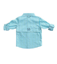 Load image into Gallery viewer, Boys Lagoon Aqua Window Pane Fishing Shirt