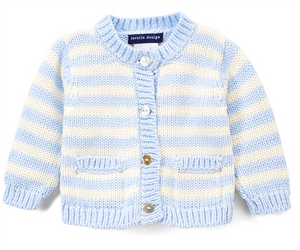 Blue & Cream Stripe Sweater 0/6M