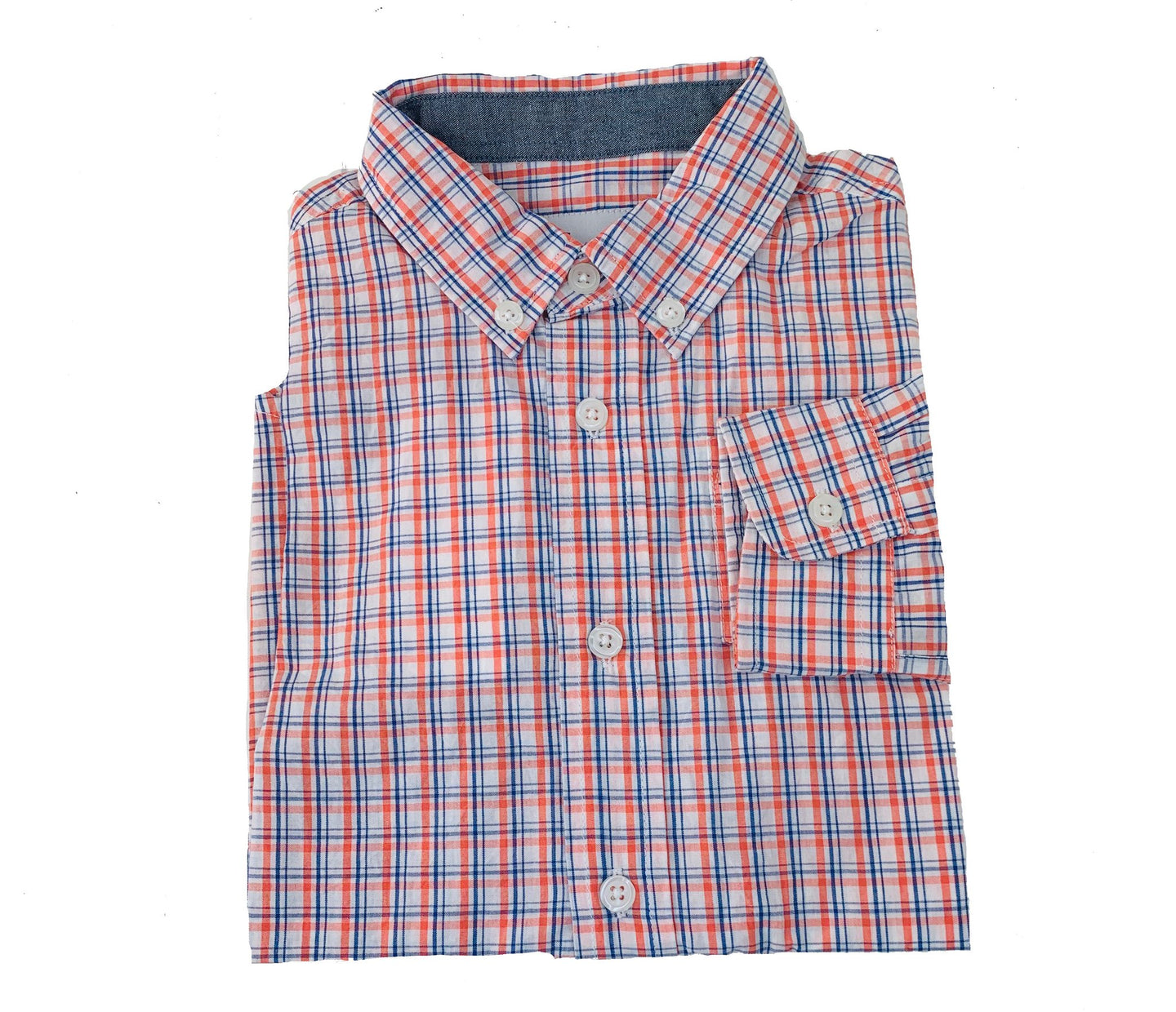 Destin Dress Shirt-Blue/Peach Plaid
