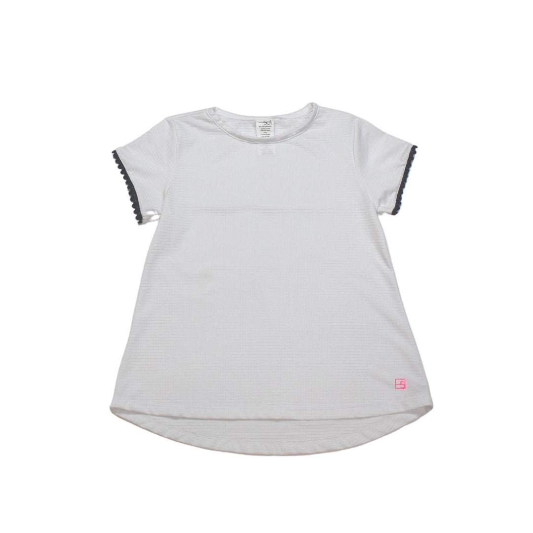 Bridget White Basic Tee w/ Navy Ric Rac