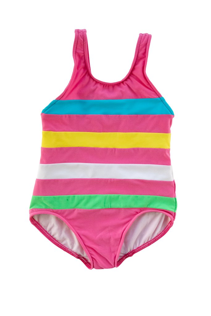 Tween Pink Color Block Swimsuit