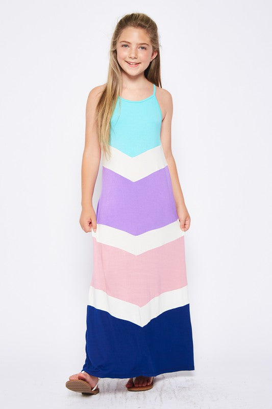 Tween Color Block Maxi Dress