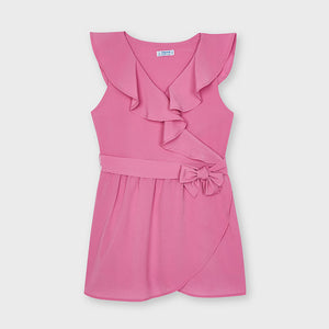 Pink Crepe Bow Romper
