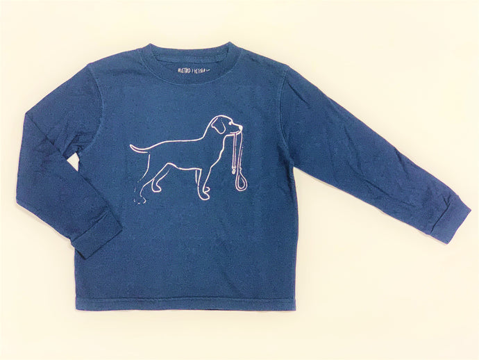 Navy Dog Long Sleeve Tee
