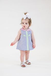 Seersucker Romper w/ Flower Collar