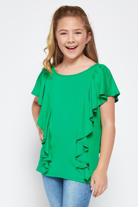 Tween Girls Green Ruffle Top