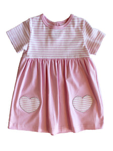 Infant Pink Stripe Dress w/ Hearts